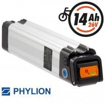 Phylion Akku XH259-10J 25.9V 14Ah (362Wh) SilverFish für E-Bike Pedelec Aldi Prophete MiFa Trio Samsung u.v.m.