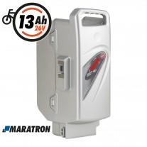 Maratron Ersatz-Akku für Panasonic 26V 13Ah silber für E-Bike Pedelec Flyer Kalkhoff Rixe Raleigh Kettler KTM u.v.m.