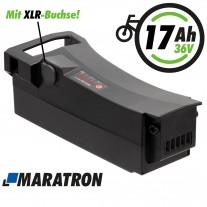 Maratron Ersatz-Akku 36V 17,5Ah (630Wh) mit XLR-Buchse für Impulse E-Bikes von DerbyCycle, Raleigh, Kalkhoff