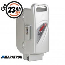 Maratron Ersatz-Akku für Panasonic 26V 23Ah silber für E-Bike Pedelec Flyer Kalkhoff Rixe Raleigh Kettler KTM u.v.m.