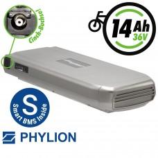 Phylion Akku 36V 14Ah Joycube Wall-ES mit SMART-BMS (UART) und Cinch-Ladebuchse für E-Bikes Pedelecs von TELEFUNKEN u.a.