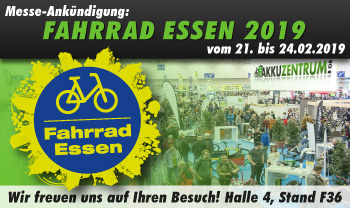 Besuchen Sie uns auf der Fahrrad Essen 2019! Halle 4 Stand F36